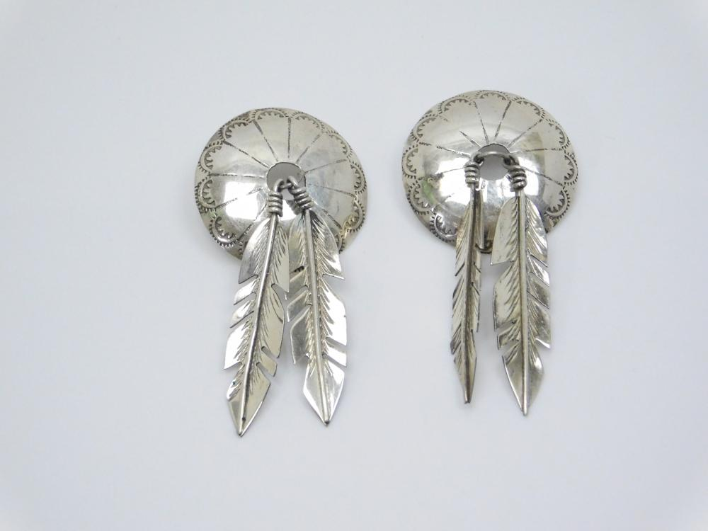 Vintage Native American Sterling Silver Large Concho Feather Dangle Post Earrings 10.7G