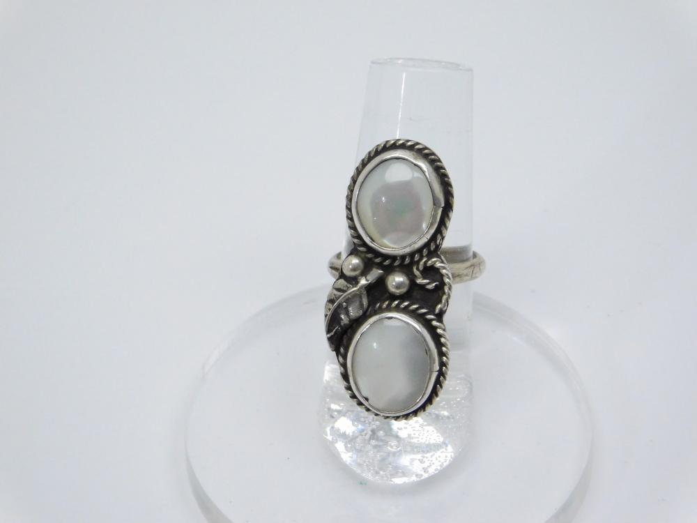 Vintage  Native American Navajo Sterling Silver Mop Double Stone Ring 6.2G Sz6.5