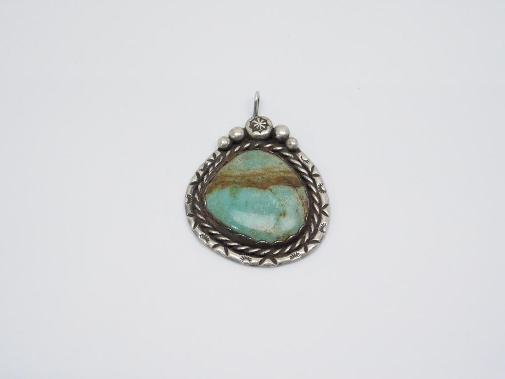Vintage Native American Navajo Sterling Silver Turquoise Stamped Bezel Large Pendant 17.9G