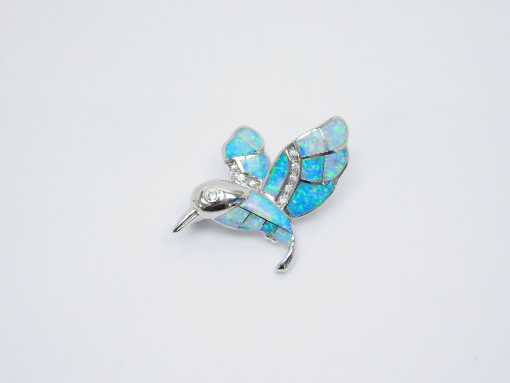 Sterling Silver Inlaid Lab Opal Hummingbird Brooch 13G