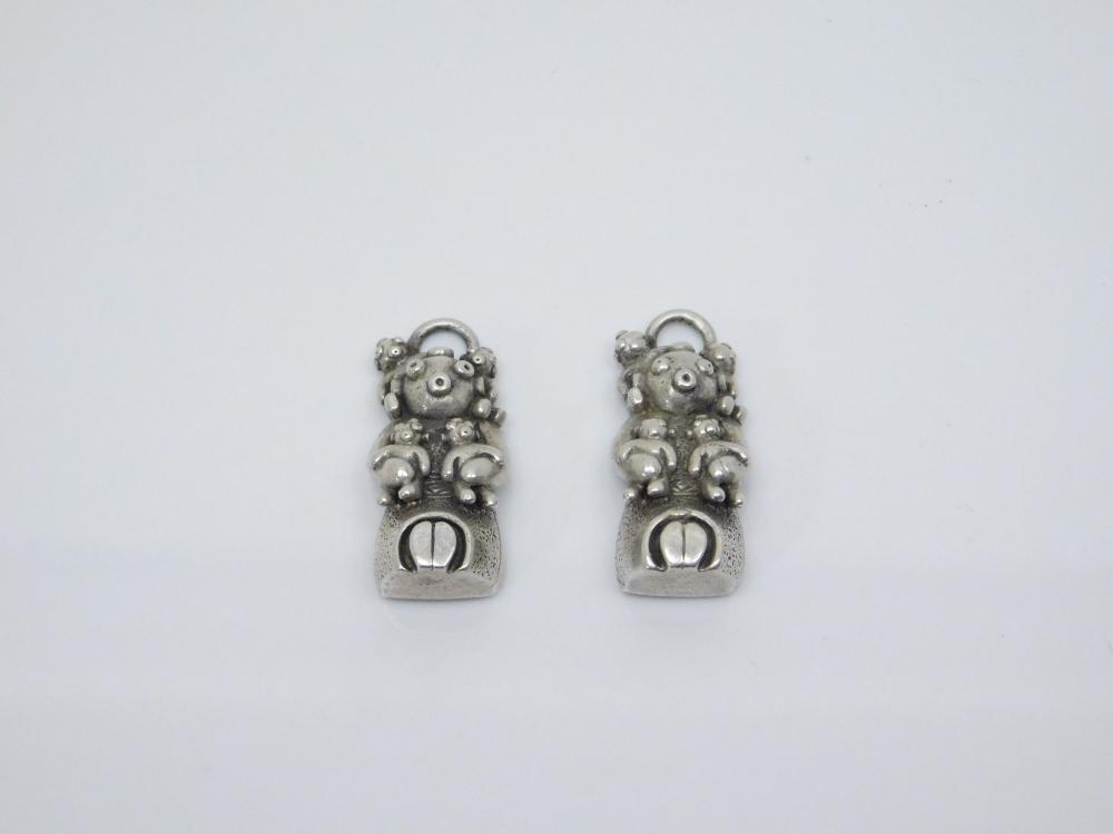 Vintage Native American Sterling Silver Mudman Storyteller Earrings Missing Hangers 15.7G