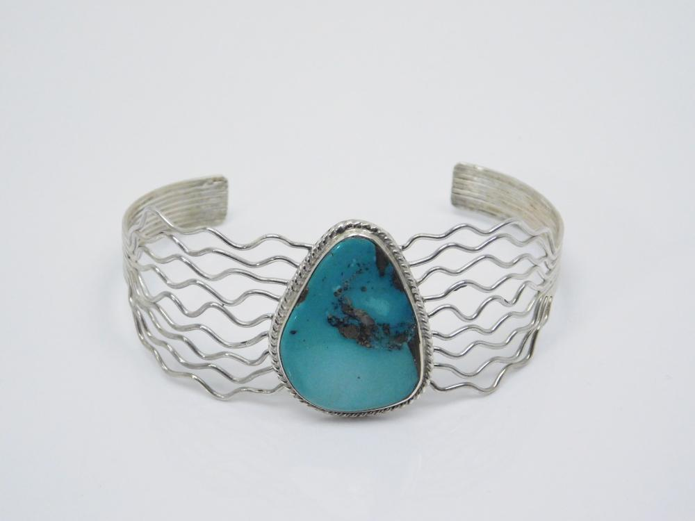 Native American Navajo Sterling Silver Wire Turquoise Cuff Bracelet 16G