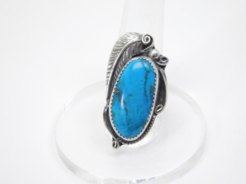 Vintage Native American Navajo Sterling Silver Turquoise Large Leaf Ring 8.7G Sz8.5