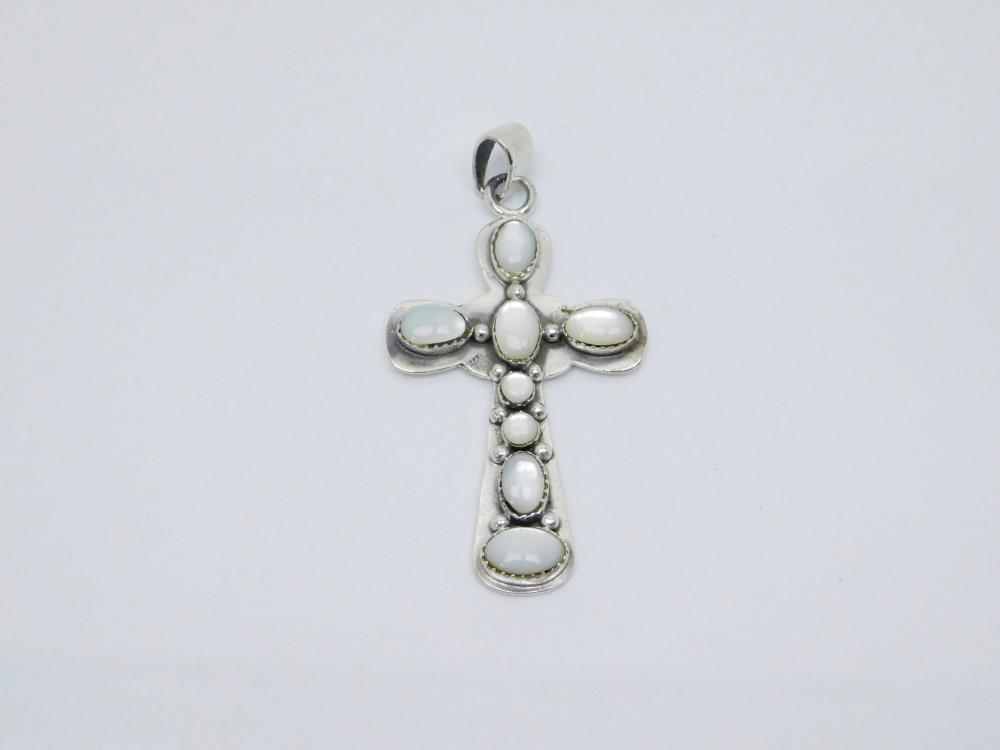 Vintage Native American Or Mexico Sterling Silver Mop Cross Pendant 11.7G