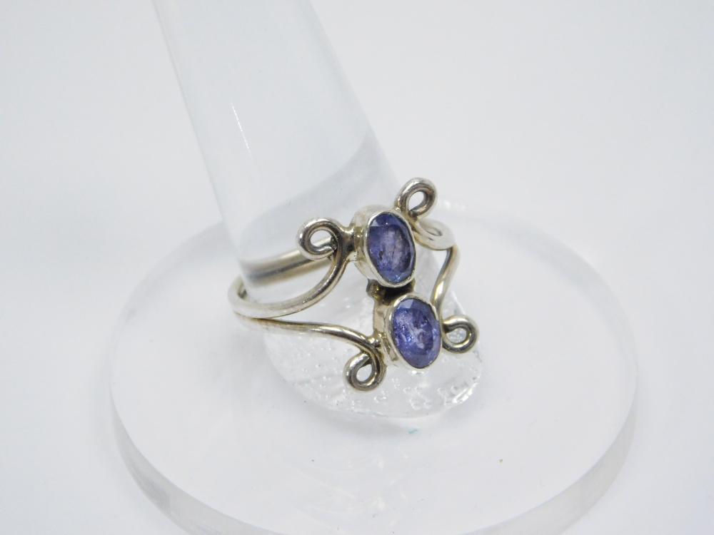 Sterling Silver 2 Stone Amethyst Fashion Ring 3.6G Sz10