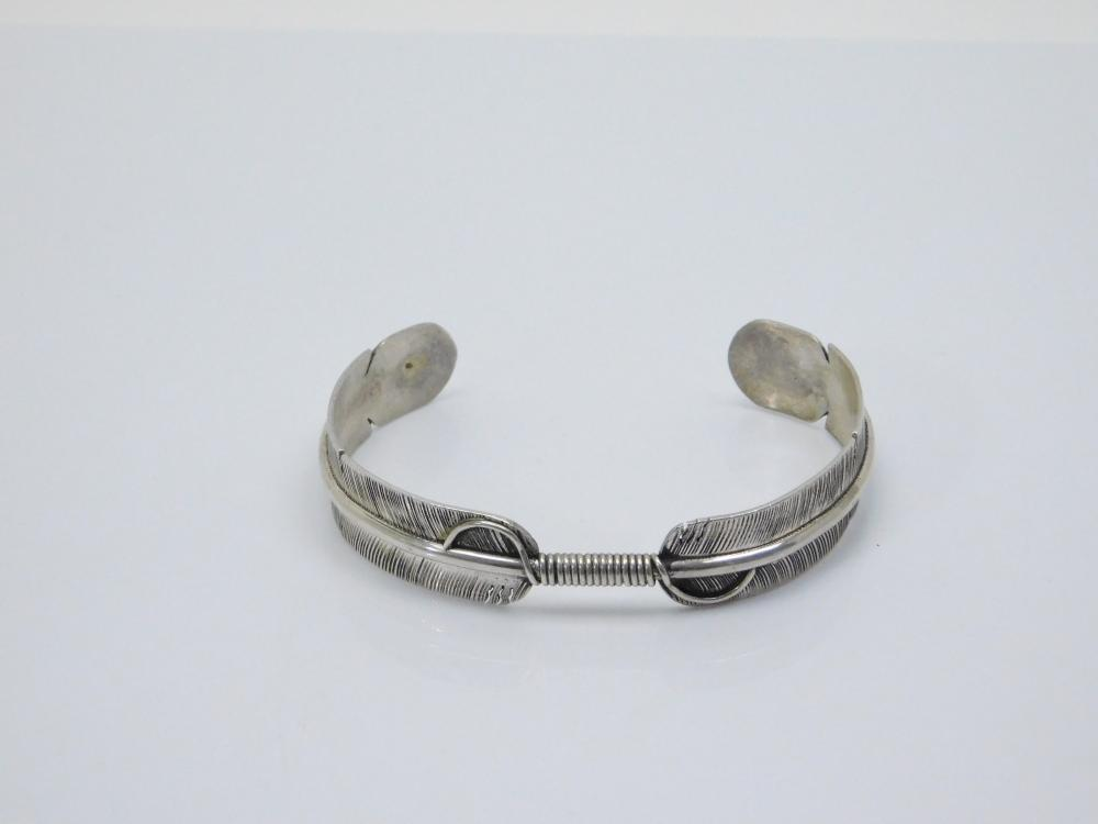 Vintage Native American Sterling Silver Double Feather Cuff Bracelet 16G