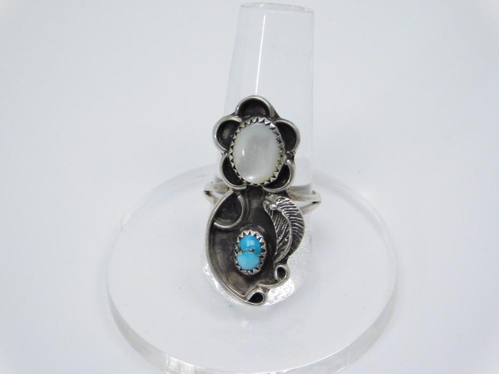 Vintage Native American Sterling Silver Turquoise Mop Leaf Ring 5.9G Sz7.5