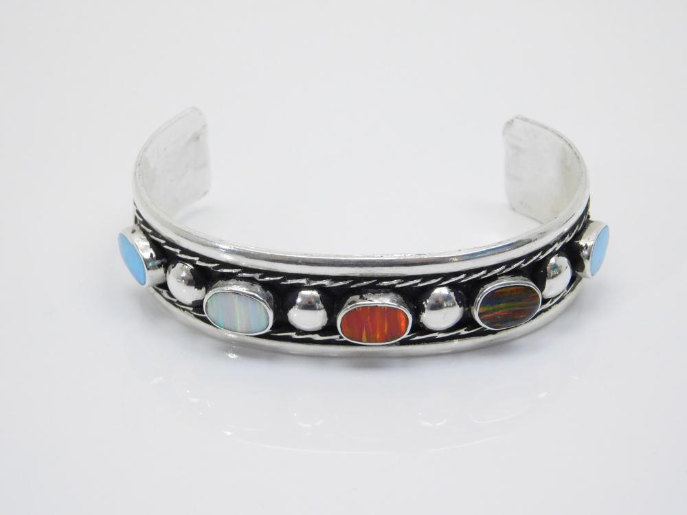 Vintage Mexico Nickel Silver Mens Multicolored Lab Opal Cuff Bracelet 30G
