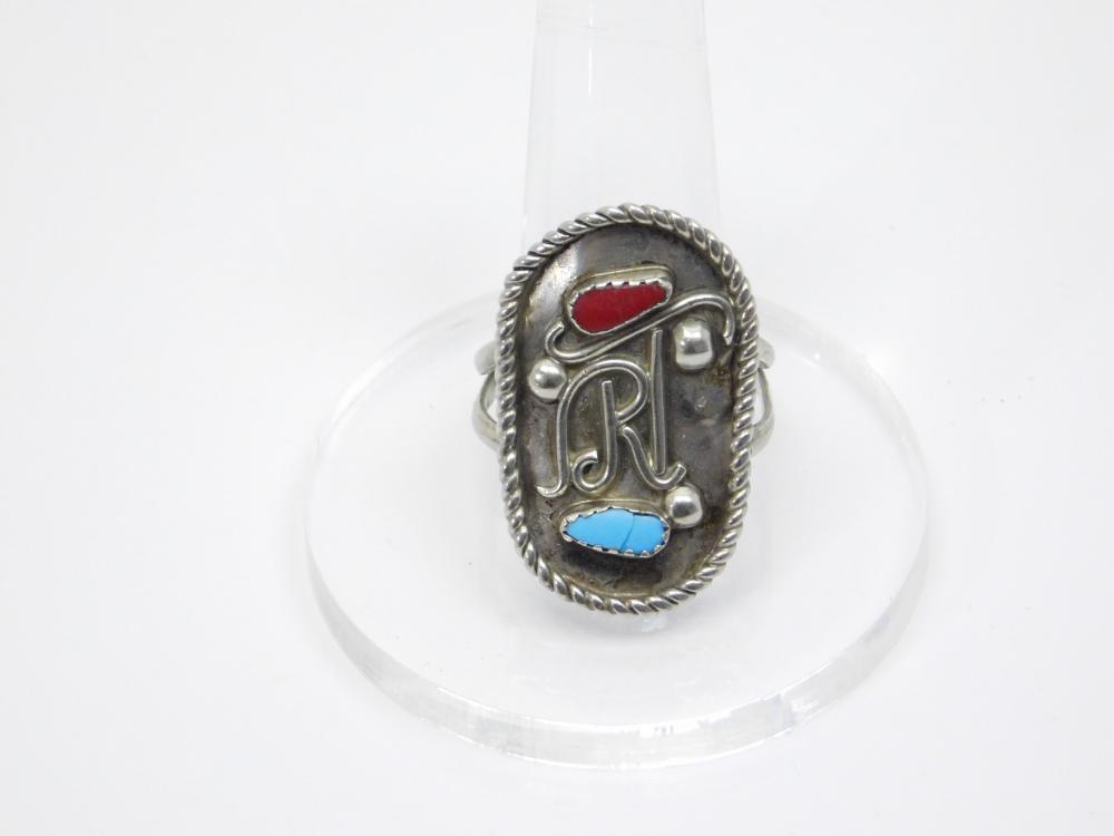 Vintage Native American Custom Rt Nickel Silver Ring 6.9G Sz11.5