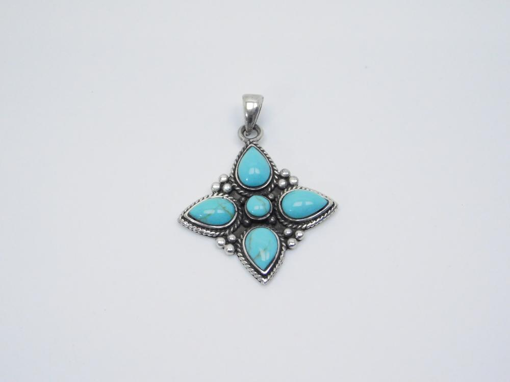 Vintage Thailand Sterling Silver Turquoise Cluster Pendant 8G