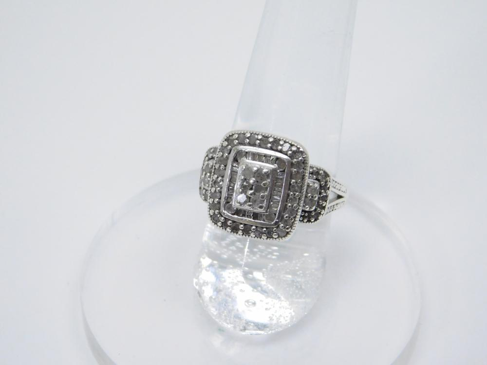 Sterling Silver Diamond Chip Cluster Fashion Ring 5.8G Sz6.5
