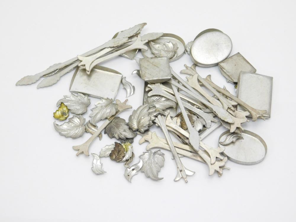 Lot Of Sterling  Silver Bezels Decorations Feather Leaf Jewelry Making Lot 71G