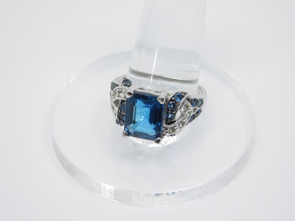 Thailand Sterling Silver Blue & Clear Stone Cocktail Fashion Ring 6.9G Sz11