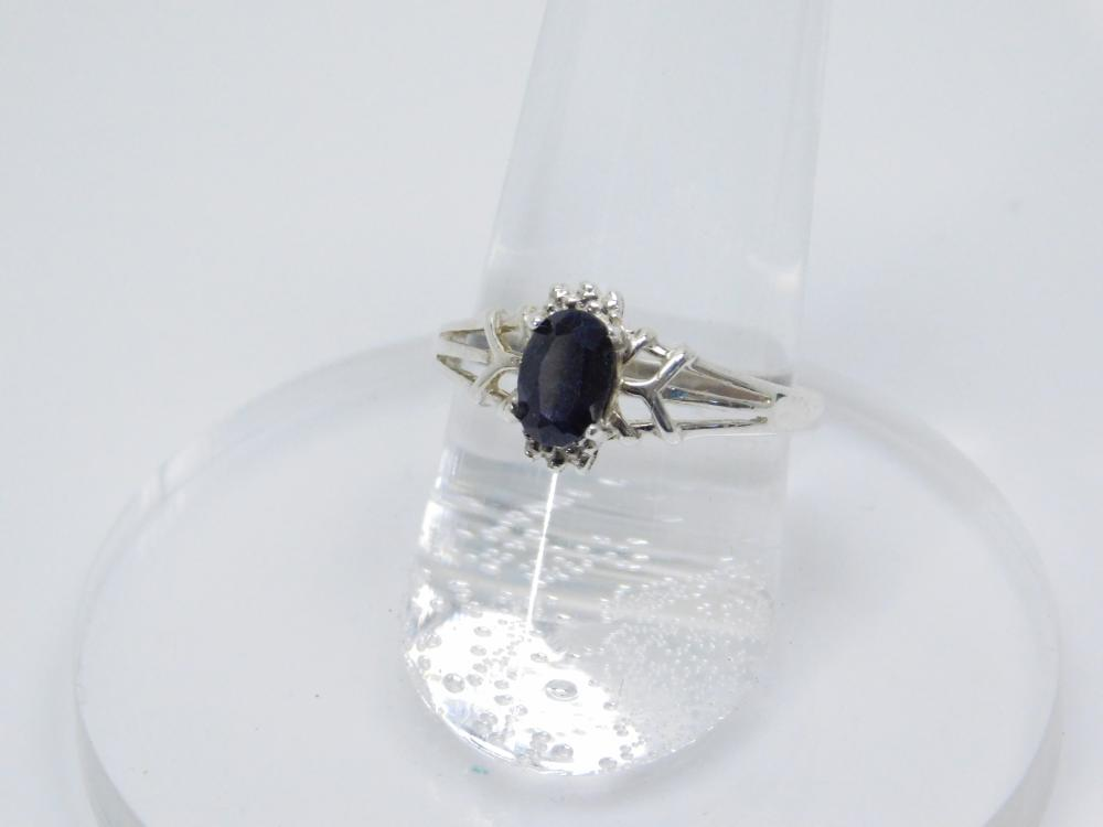 Sterling  Silver Blue Sapphire Solitaire Ring 2G Sz7.5