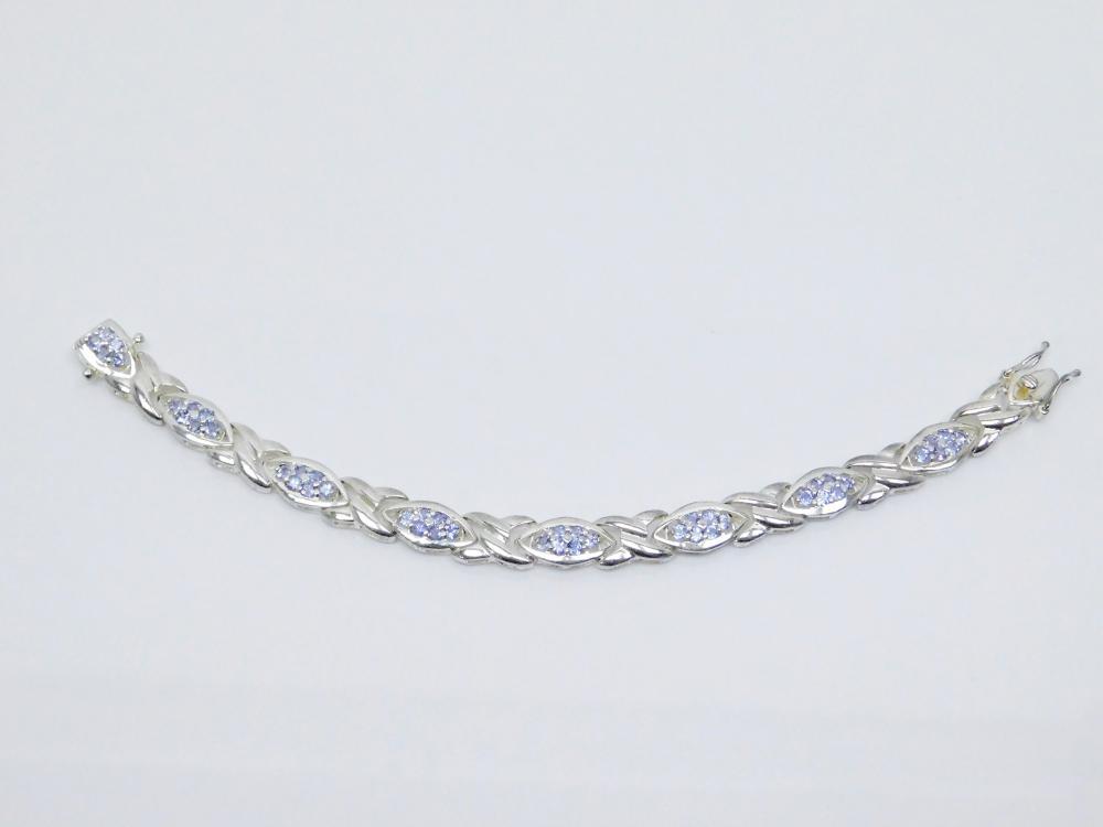 Sterling Silver Iolite Cluster Fashion Bracelet 16.9G