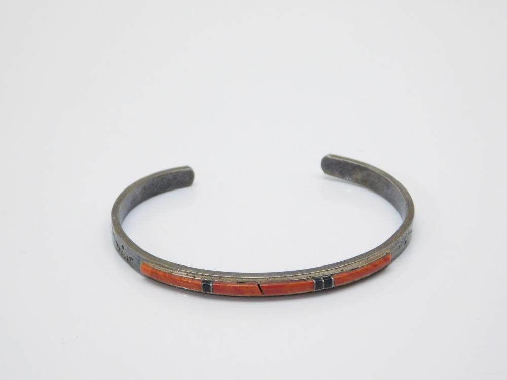 Vintage  Native American Sterling Silver Orange Yellow Stone Overlay Cuff Bracelet 11G