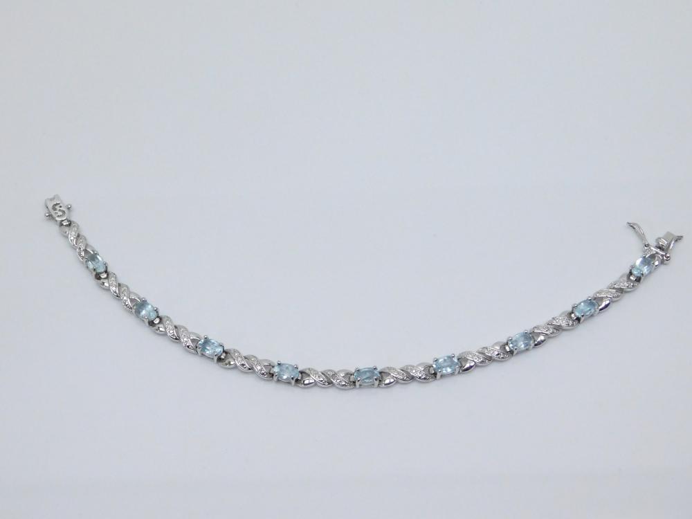 Sterling Silver Blue Topaz Fashion Tennis Bracelet 9.9G