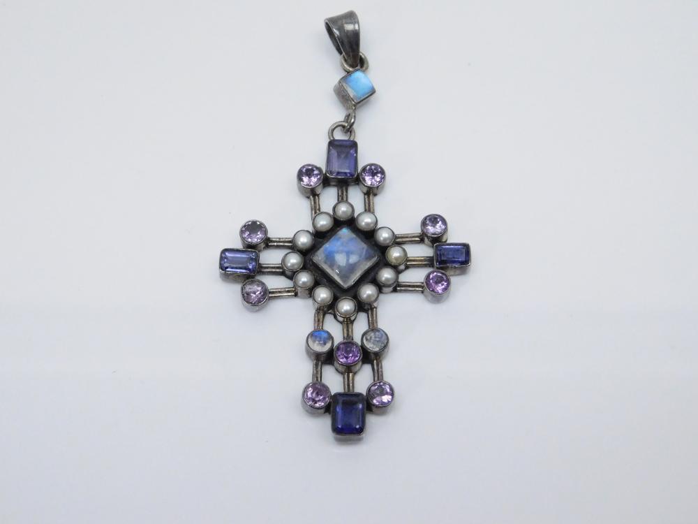 Vintage India Nv Sterling Silver Amethyst Moonstone Pearl Cross Pendant 15G