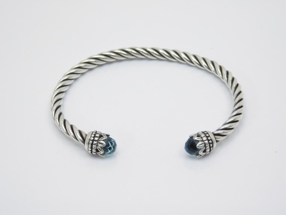 Sterling Silver Faceted Blue Topaz Twisted Cuff Bracelet 11G