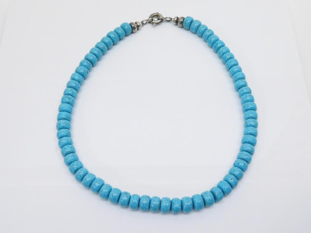 Sterling Silver Chunky Vlasp Reconstituted Chip Turquoise Large Bead Necklace 59G