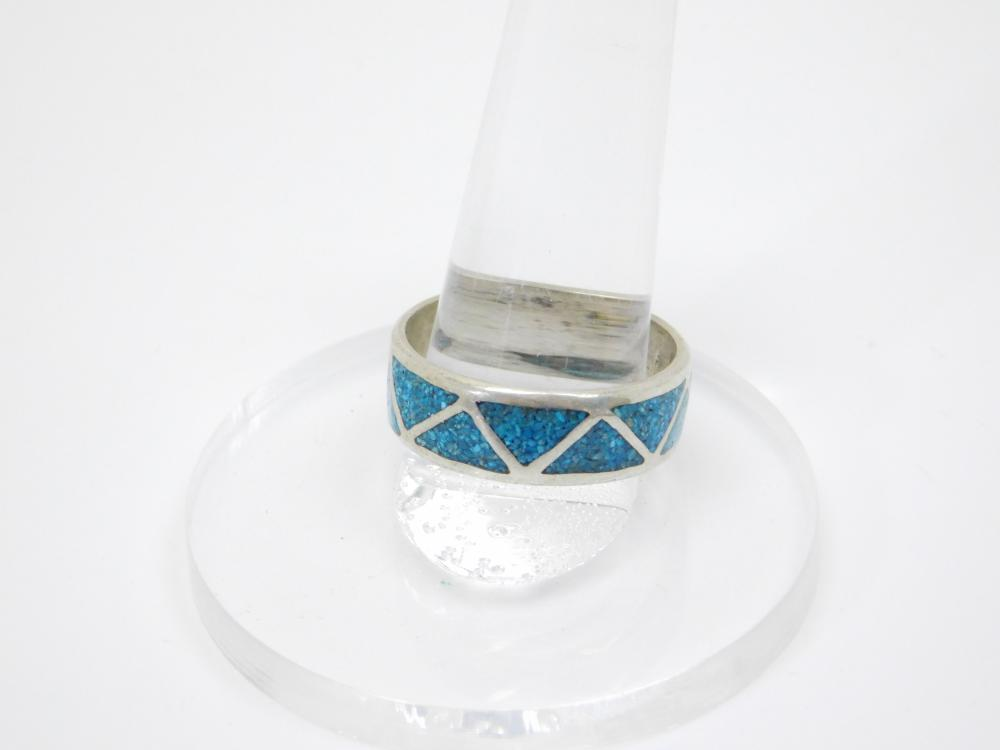 Vintage Native American Sterling Silver Chip Inlay Turquoise Mens Band Ring 5.7G Sz11.75