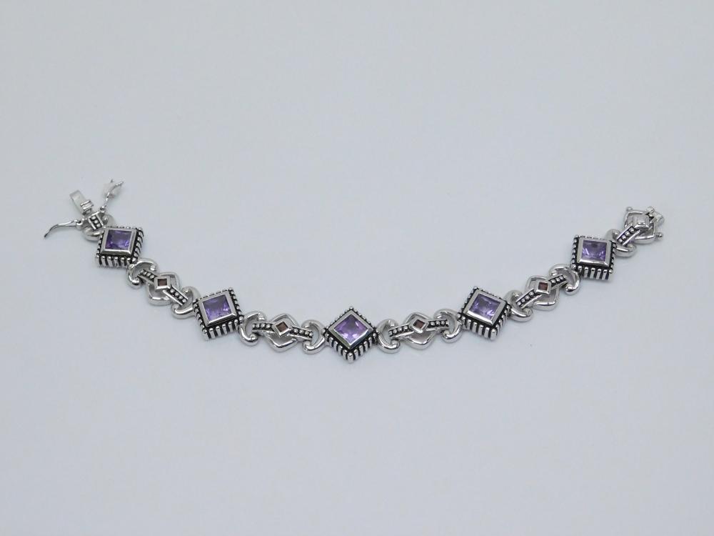 Sterling  Silver Amethyst & Garnet Chunky Panel Bracelet 22.9G