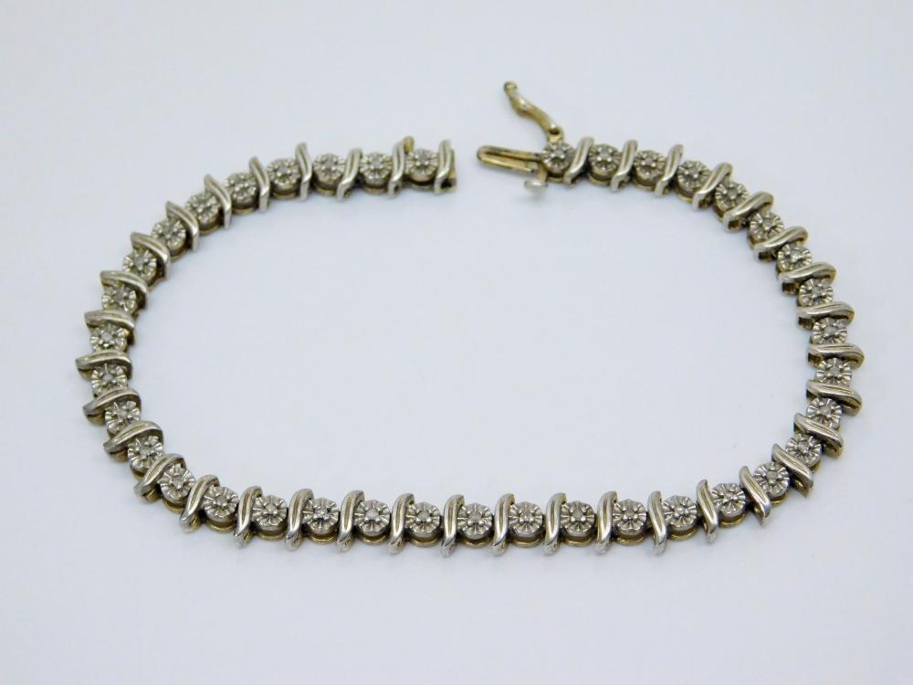 Sterling Silver Diamond Chip Fashion Tennis Bracelet 10.9G