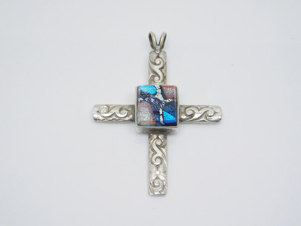 Vintage Southwestern Sterling Silver Dichroic Glass Stamped Cross Pendant 10.8G
