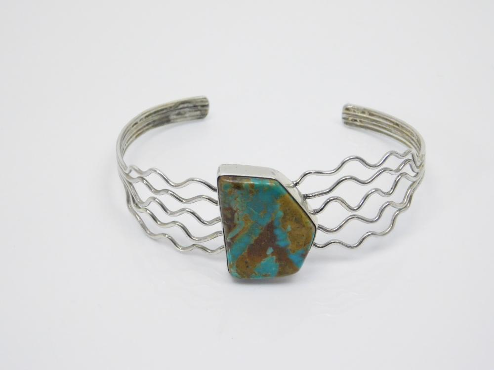 Vintage Native American Navajo Sterling Silver Turquoise Multi Wire Cuff Bracelet 13.5G