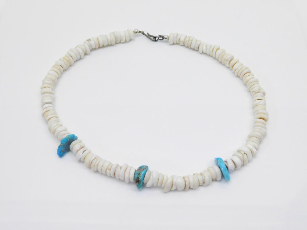 Vintage Native American Turquoise Nugget Shell Bead Necklace 53G