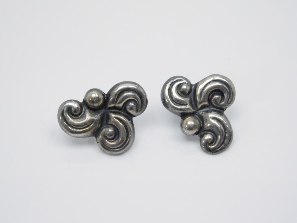 Vintage Taxco Mexico Sterling Silver Art Deco Screw Back Earrings 6G