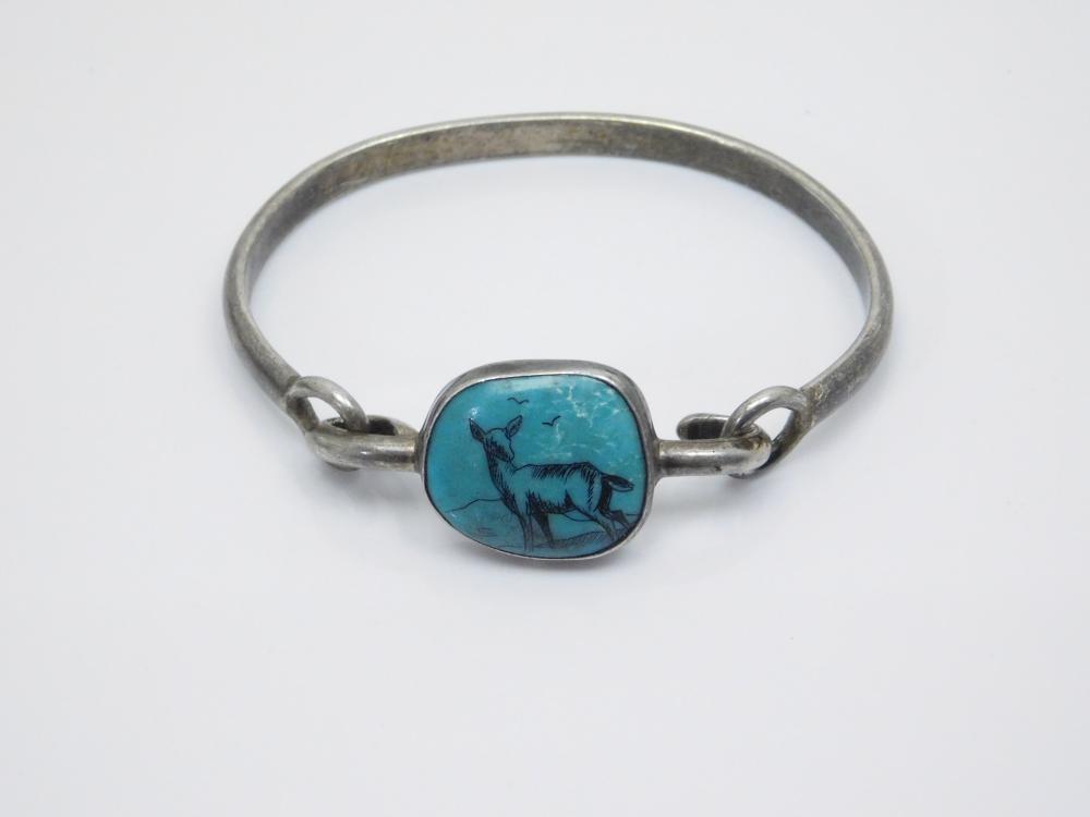 Vintage Native American? Sterling Silver Scrimshaw Deer On Turquoise Bracelet 22G