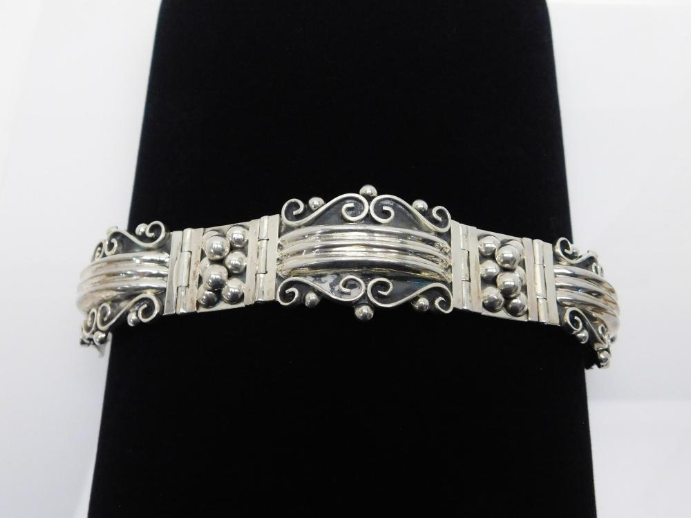 Vintage  Taxco Mexico Heavy Sterling Silver Art Deco Bracelet 63G