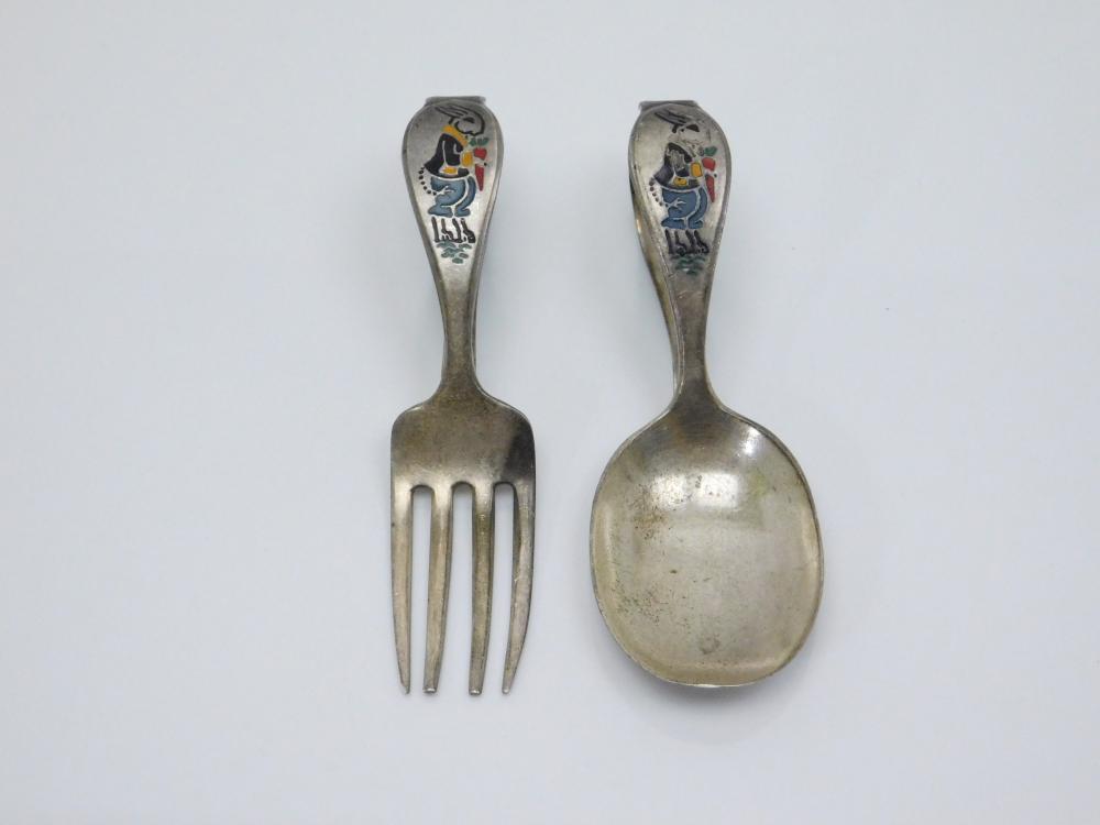 Vintage Sterling Silver Enameled Bunny Rabbit Childs Spoon & Fork Set 33G