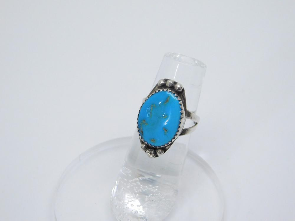 Vintage  Native American Navajo Sterling Silver Turquoise Ring 3.8G Sz4.5