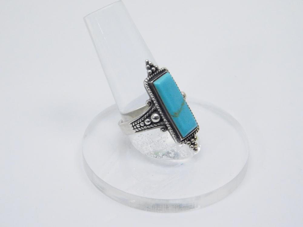 Vintage Thailand Sterling Silver Turquoise Fashion Ring 7.2G Sz8