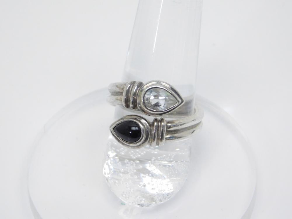 Sterling Silver Espo Sig Cz Black Onyx Bypass Ring 7.8G Sz7.25