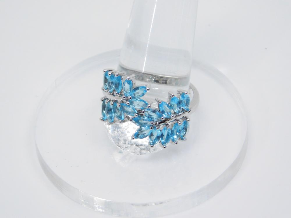 Sterling Silver Blue Topaz Fashion Cluster Cocktail Ring 4G Sz10