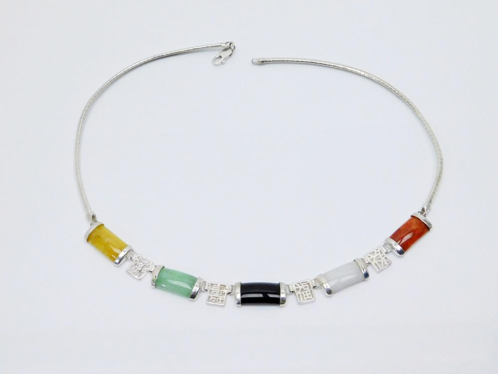Sterling Silver Oriental Character Multistone Panel Choker Necklace 21G