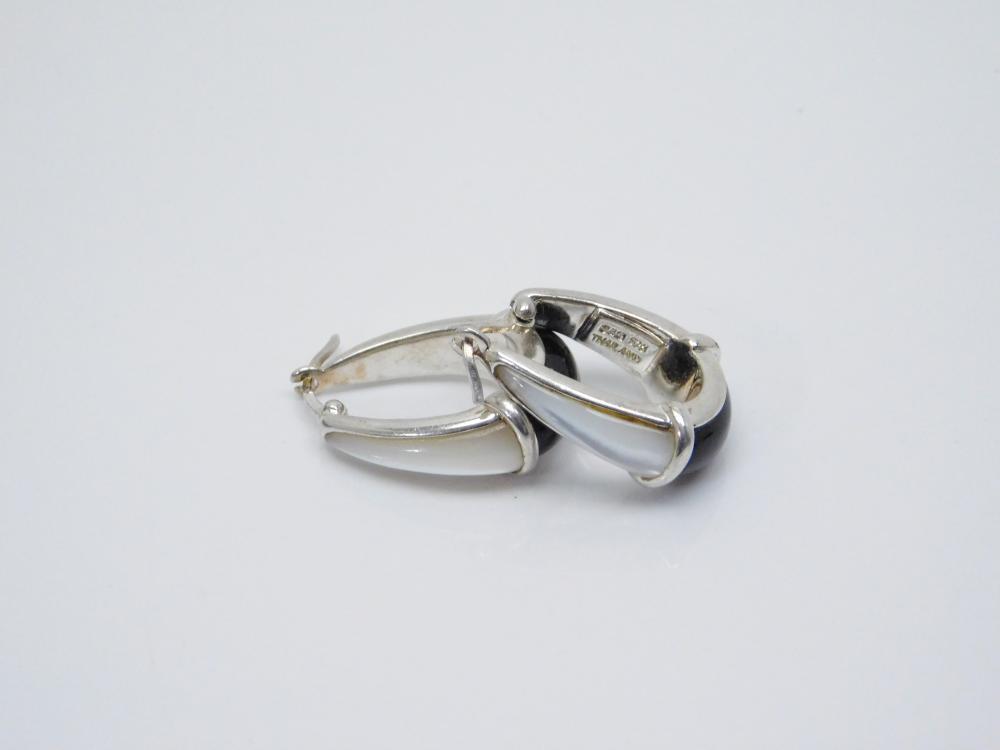 Thailand S&G Sterling Silver Mop Black Onyx Hoop Dangle Earrings 10.7G