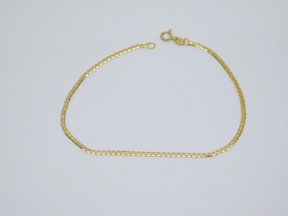 Italian 14Kt Yellow Gold Flat Box Chain Bracelet 1G