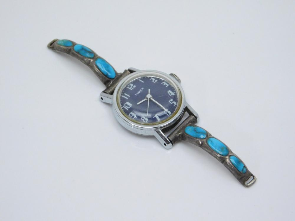 Vintage Native American Sterling Silver Inlaid Turquoise Ladies Watch Tips 20G