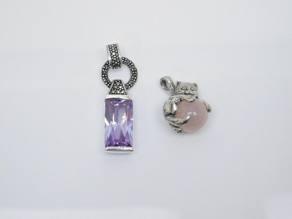 2 Sterling Silver Kitten Cat On Rose Quartz Ball And Purple Marcasite Pendants 17G