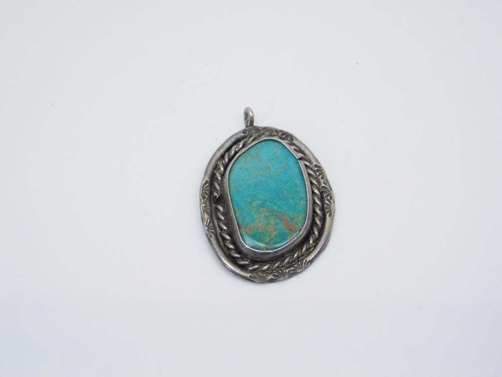 Vintage  Native American Sterling Silver Turquoise Pendant 5.9G