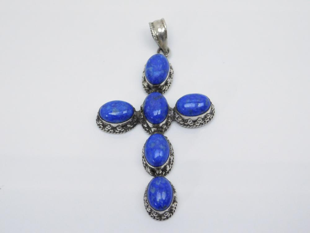 Thailand Large Sterling Silver Lapis Crooked Cross Pendant 27.8G