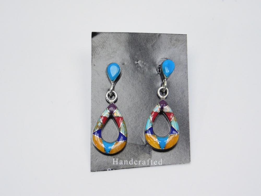 Native  American Zuni Sterling Silver Inlaid Multistone Drop Dangle Earrings 2.5G