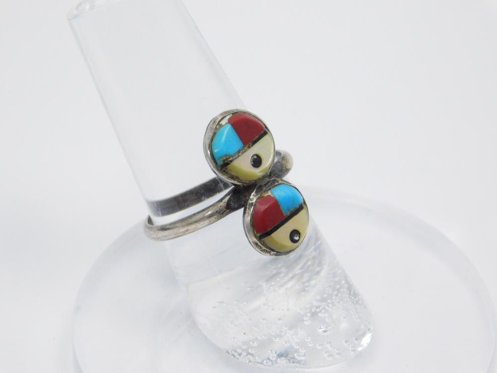 Vintage Native American Sterling Silver Turquoise Coral Mop Double Sunface Ring 1.9G Sz6.5