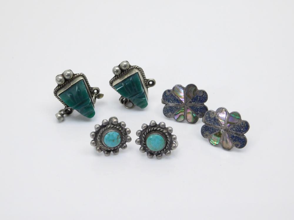 3 Pair Vintage Native American & Mexico Sterling Silver Screwback Earrings 21G