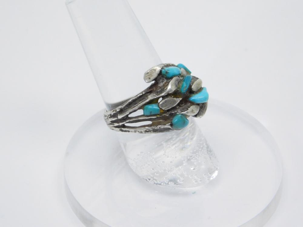 Southwestern Sterling Silver Tree Branch Turquoise Ring 7.5G Sz6.75