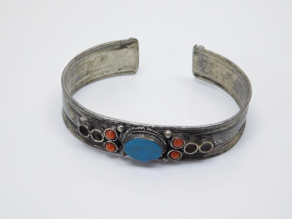 Vintage Tibetan Sterling Silver Turquoise Coral Cuff Bracelet 22.8G